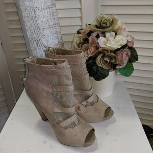 Seychelles Open Toed  Lace Accent Heel Booties